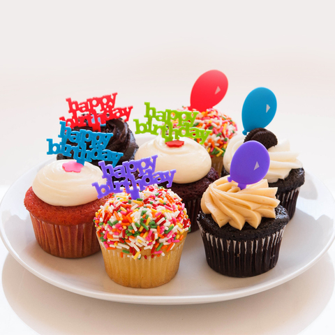 cako bakery happy birthday cupcake dozen with toppers cako